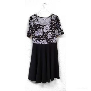 Lularoe Black Floral Skater Dress